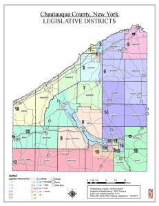 A map of the legislative districts for Chautauqua County, approved and finalized for the 2013 elections.