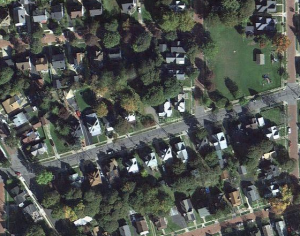 The area around Lillian Dickson Park (upper right), including Falconer Street and the intersection with Winsor St. (lower left), where some residents would like to see a four-way stop put in place by the city.